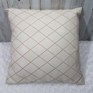 Light Cream Crisscross Leather & Velvet Pillow
